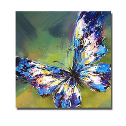 High Quality Canvas Art Pictures Blue Butterfly Oil Painting for Bedroom Decoration Hand Painted Oil Painting Home Decor No Framed