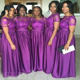 2016 Short Sleeves Long Lace Arabic Bridesmaid Dresses Custom Made Purple Appliques Maid of Honor Gowns Formal African Black Girls' Gowns