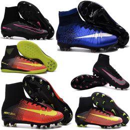 Wholesale New Kids Football Boots Mercurial Superfly FG AG CR7 Soccer Boots Cleats Laser original Hypervenom Phantom Soccer Shoes Hot Sales