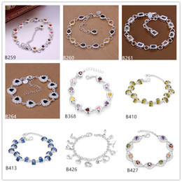 Mixed style 8 pieces a lot new arrival fashion women's plated sterling silver Bracelet, Choi Shek heart droplets 925 silver Bracelet EMB34