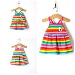 Wholesale Cute Baby Girls Rainbow Stripped Dresses Infant Cotton Zebra Sleeveless Sleepwear Straps Dress with Rabbit Pattern Colors Y Free Ship