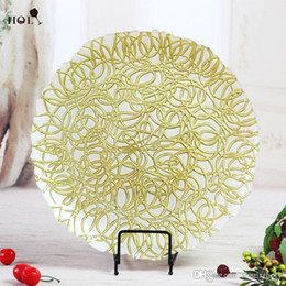 Wholesale Cheap Wedding and Restaurant Decoration Gold Silver Vines Glass Charger Plate