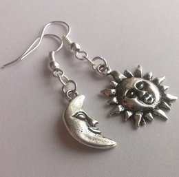 Wholesale Asymmetrical Mismatched Earrings Silver Sun and Moon Smiling Sun Moon Face Celestial Dangling Earrings
