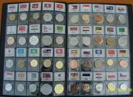 Wholesale world coins set collecting with leather album for from different country and areas tag with name and flag