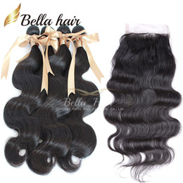 Indian Body Wave Virgin Human Hair Weave Top Closure With Bundle Hair Extensions 4PCS+1PC (4*4) Double Weft 8A Bellahair Full Head 5PCS