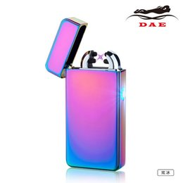 Wholesale 10PCS The latest double arc arc lighters blue lights USB rechargeable high end metal lighters beautifully packaged box multicolor