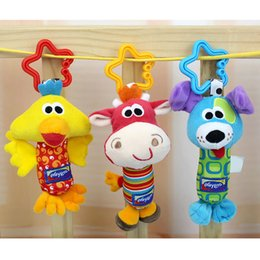 Wholesale 2016 Best Selling Brand New Kid Baby Toys Rattle Tinkle Hand Bell Multifunctional Plush Stroller Cute Animal Duck Dog Fawn Toy