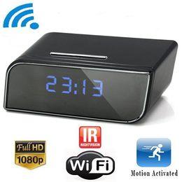Wholesale WIFI P2P IP Cameras Pinhole Hidden Cameras Clock Camera with IR Night vision Mini Clock H Cameras Mini Camcorder Video Recorder