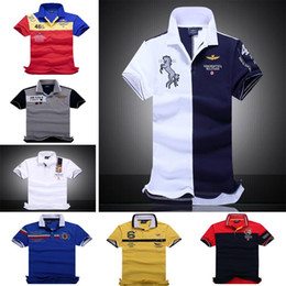 Wholesale New air force one Top Quality embroidery men s Aeronautica militare Men Shirts Brand POLO diamond Fashion shark clothing