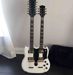 free shipping Personal Tailor white Double Neck 6&12 Strings Electric guitar real bridge Gib Rosewood Fingerboard Can customization
