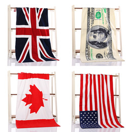 Wholesale 2016 original cotton Bath Towel cm beach shower swim towel dollar bill Canada America Briton national flag pattern towel
