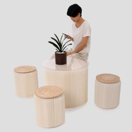 Wholesale H35xDia34cm Novel Innovation Funiture Pop Paper Stools Indoor Universal Study room Waterproof Accordion Style Kraft Height quot White