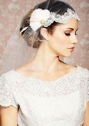 Wholesale the new chiffon dress lace short feathers nail bead crystal decoration half block face fashion generous noble bridal veil