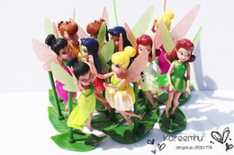 Wholesale Patrulla Canina Toys cm Tinker Bell Pvc Figure Dolls And Friends Fairy Rosetta Waves Fawn Toy with Leaves Base
