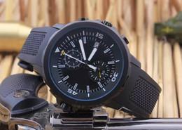 Los mejores relojes de moda de calidad en Línea-La alta calidad de cuarzo hombre negro nueva moda reloj de los deportes de la correa de caucho reloj cronógrafo de pulsera relojes hombres mejor regalo para los hombres
