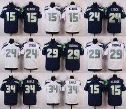 Wholesale 2016 Elite News Mens Jerseys Jermaine Kearse Marshawn Lynch Earl Thomas III Thomas Rawls Stitched Jerseys Free Drep Shipping
