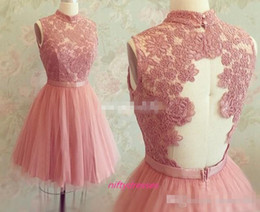 Wholesale Cheap Blush Short Homecoming Dresses High Neck Illusion Back Tulle Lace Party Prom Gowns Mini th Junior High School Graduation Dress