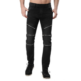 Men Jeans Motorcycle Biker Design Fashion Race Jeans For Men Hip Hop Skinny zipper Leisure Jeans