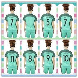 Wholesale New Product Women s Uniforms Kit European Cup Portugal EDER Ronaldo Nanl Mario Soccer Jersey Light Green Away Jerseys