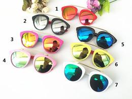 Fille chat cru en Ligne-Lunettes de soleil classiques vintage UV400 Boy Girls Lunettes de soleil mignonnes de revêtement