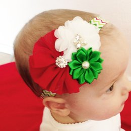 Wholesale Christmas Hair Bows For Babies - 2016 Christmas Headbands For Babies Girls Chiffon Flower Infant Hair Bows Accessories Wholesale Striped Elastic Hair Bands Hot Baby Tiaras
