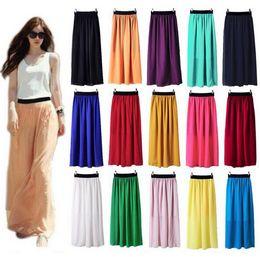 Womens Chiffon Maxi Skirts Elastic Waist Bohemia Long-Length Women Skirts Colorful Casual Skirts 20 Colors