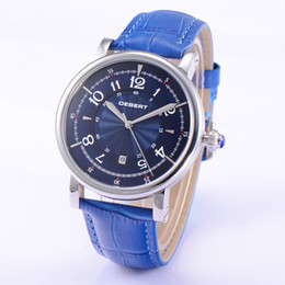 1837 Debert Stainless Steel 43mm Silver Case Blue Dial Automatic Men's Watch Best Gift