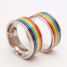Wholesale Amazing Price New Arrival titanium Lsteel rainbow Ring Special Gay Couple Marriage homosexual ring Sane Sex Same Nature Jewelry