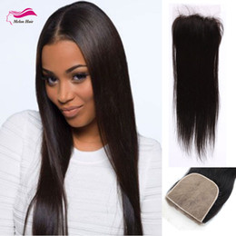 Virgin Human Hair Silk Base Closures 4x4 Full Lace Closures Straight Brazilian Hair Closures Natural Color Peruvian Indian Malaysian Hair