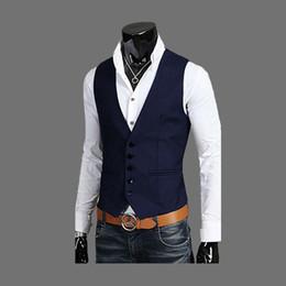 Men Male New Arrival Slim Fit Waistcoat Button Down Business Vests Navy Blue Black Coffee M L XL XXL