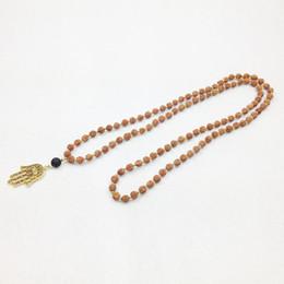 ST0244 Hamsa Handmade Mala Necklace Yoga Meditation Energy Necklace African Beads Necklaces