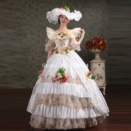 Wholesale On Sale White Embroidery Appliques Lace Medieval Marie Antoinette Dresses Women Southern Belle Party Ball Gowns Includes Hat Dress