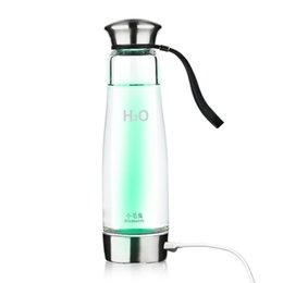 Wholesale 500ml USB Water Bottles Portable Intelligent Hydrogen Rich Water Maker Ionizer Generator Anti Aging Bottle with Colorful Light