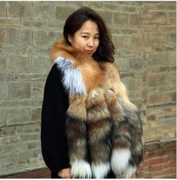 Wholesale real fur Female with a red fox fur the tail skin four tail red fox scarf shawls manufacturers selling gold fox scarf