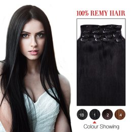 Clip In Human Hair Extention Straight 8A Color #1 Jet black 100% Human Hair Extensions 14-26inch Brazilian Clip In Hair Preferential Price