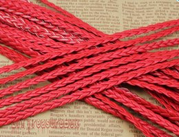 Free Ship 100Meters 5mm Red Flat Faux Braid Leather Cord, Bracelet Cord, DIY Accessory Cord