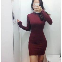 Wholesale 2016090906 New summer woman thread turtleneck long sleeve bodycon dress vestido falda robe elbise zomer jurken dresses