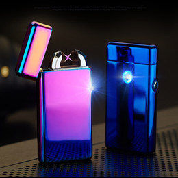 Wholesale 2016 Male gift Arc Lighters metal USB Rechargeable Flameless Electric Arc Windproof Cigar Cigarette Lighter Cross Double Pulse Slim Lighter