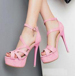 Promotion taille 34 talon rose 2016 nouveaux sexy multiples plate-forme de lanières de talon haut de sandales de gladiateur rose taille chaussures de mariage de 12cm 34 à 39