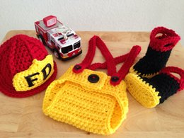 Firefighter Crochet set,fireman hat,pants and boots,Baby Photo Prop Set Costume,Firefighter Crochet Baby Photo Prop Set 2016 hotselling item