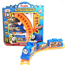 Wholesale 1 Set Kids Baby Interesting Electric Anime Machines Railway Trains Model Vehicles Toys Gifts for Children Boy Christmas Party