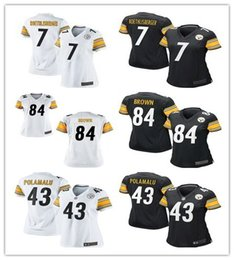 Wholesale women Pittsburgh football Jerseys Steelers Ben Roethlisberger Antonio Brown Troy Polamalu LeVeon Bell cheap shirts