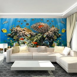 Wholesale 3D Underwater World Mural non woven wallpaper art deco interior large group of fish staggered wall art children s bedroom TV background fr