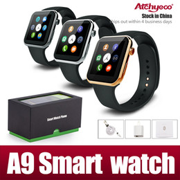 Wholesale Smartwatch A9 Bluetooth Smart watch for Apple iPhone Samsung Android Phone Heart rate measurement steps remote take photos DHL Free