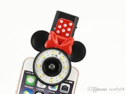 2017 anillo de luz led de la cámara Cámara Anillo LED autofoto de dibujos animados de Mickey Minnie de la linterna de la lámpara de luz de flash con batería recargable para el iPhone LG SAMSUNG SONY Smartphone presupuesto anillo de luz led de la cámara