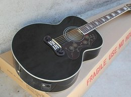 Wholesale 43 Folk Black Acoustic Guitar with A Five section Liquid Crystal Pickups Black Binding Can be Customized as Request