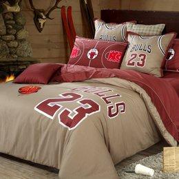 Wholesale Good Quailty Home textile Bull team basketball bedding sets Fans cotton bedroom sets duvet cover flat sheet and pillowcases