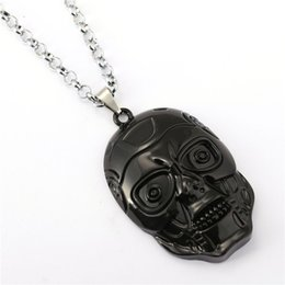 Terminator Mask Necklace 2015 New Arrival Handmade Black Movie Robot Head Pendant Necklace As Gift Free Shipping