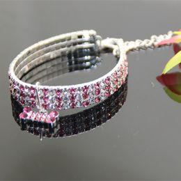 Wholesale wholesales specialized luxury rhinestone necklace dog collar row rhinestone with bone pendant for pets cat dog necklace jewelry