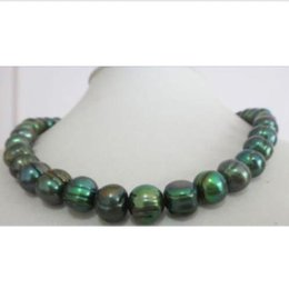 Wholesale natural mm tahitian baroque peacock green pearl necklace quot K YELLOW CLA